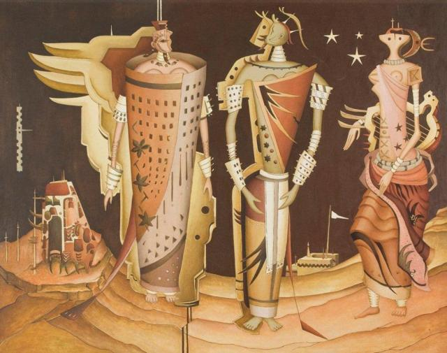 Alexis Preller. Hieratic Women 1955-57. Oil on canvas 20.8 x 151.3 cm University of the Witwatersrand Art Gallery