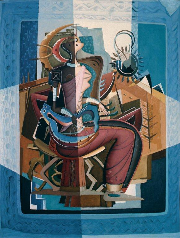 Alexis Preller, Woman with a Lyre, 1956. Oil on canvas. 152 x 122 cm. Private Collection