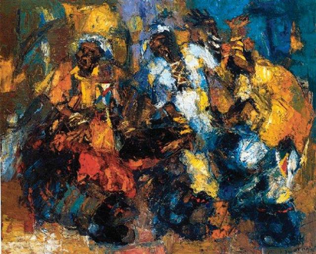 Ephraim Ngatane, Gumboot Dancers, undated. Oil on board. 61 x 76 cm. William Humphreys Art Gallery