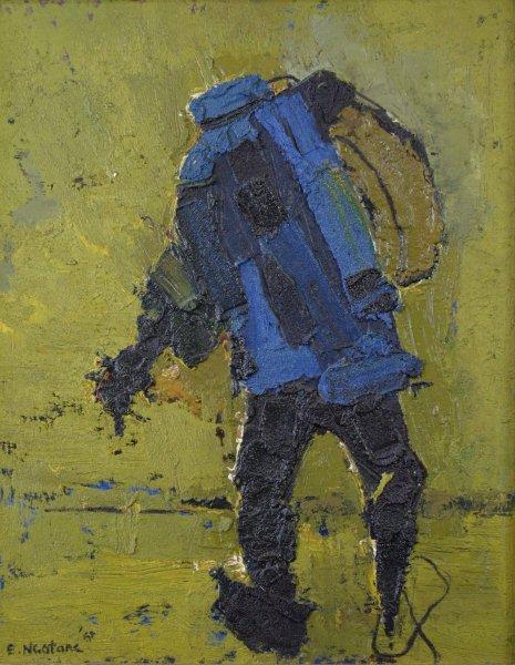South AFrican artists, Ephraim Ngatane, The Beggar, 1969. Oil on board. 75 x 59 cm.