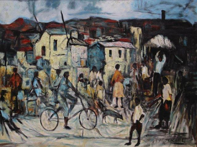 Ephraim Ngatane, (The Street) Township scene with dog and bicycle, undated. Oil on board. 75 x 100 cm. Private collection (Source Standard Bank Gallery)