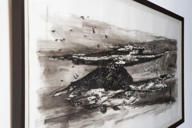 Minette Vari, Wisdom of the Impious (Flown), 2010, Indian Ink on Fabriano 100 x 182 cm (Source Goodman Gallery)