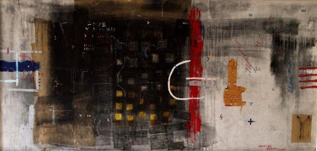Samson Mnisi, Heavenly Money, 2010, 125 x 270, mixed media on canvas.