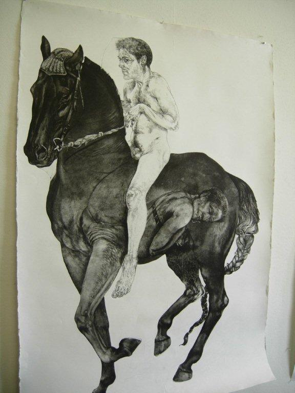 Diane Victor, 4 Horses: Bayard 2010, Etching, embossing, digital printing and drawing 171 x 121: August House
