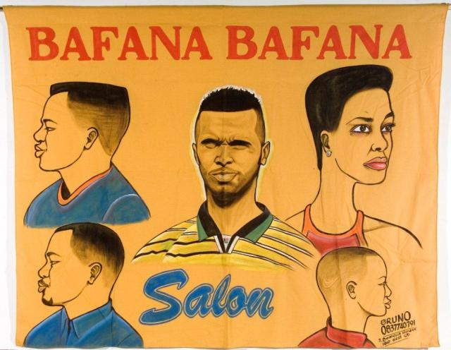 Bruno Ngumbare Bihiza, Bafana Bafana Salon, 1998. Barber Shop banner. Poster paint on fabric. 119 x 151 cm. Democratic Republic of Congo. Standard Bank Collection of African Art (Wits Art Museum) (photograph: Cliff Shain)