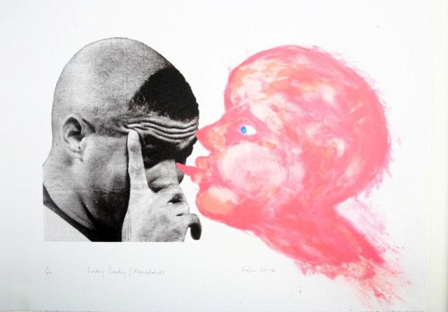 Penelope Siopis, Pinky Pinky Ronaldo, 2002. Screenprint. 37.5 x 49.5 cm. Private Collection