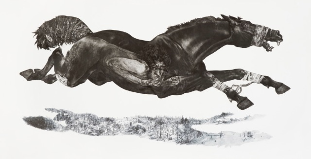 Diane Victor, 4 Horses Baited, 2009, Etching, digital printing 105 x 200cm (Goodman Gallery)