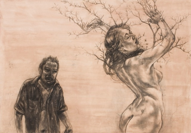 Diane Victor, Birth of a Nation - Apollo and Daphne, 2009, Charcoal and sepia wah on paper 100 x 140 cm