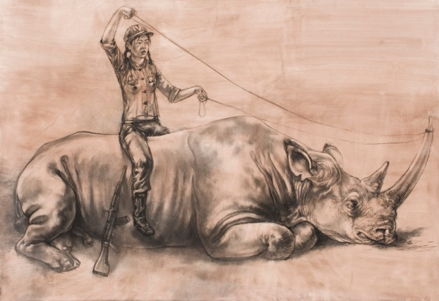 Diane Victor, Birth of a Nation, The Rape of Europa - Africa, 2010, Drypoint, 37.2 x 47.4 cm (Goodman Gallery)