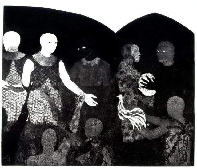 Belkis Ayón Manso,Perfidia (Perfidy), 1998, Collography on heavy paper 200 x 2520 cm (photograph Johannesburg Art Gallery JAG - WITHOUT MASKS)