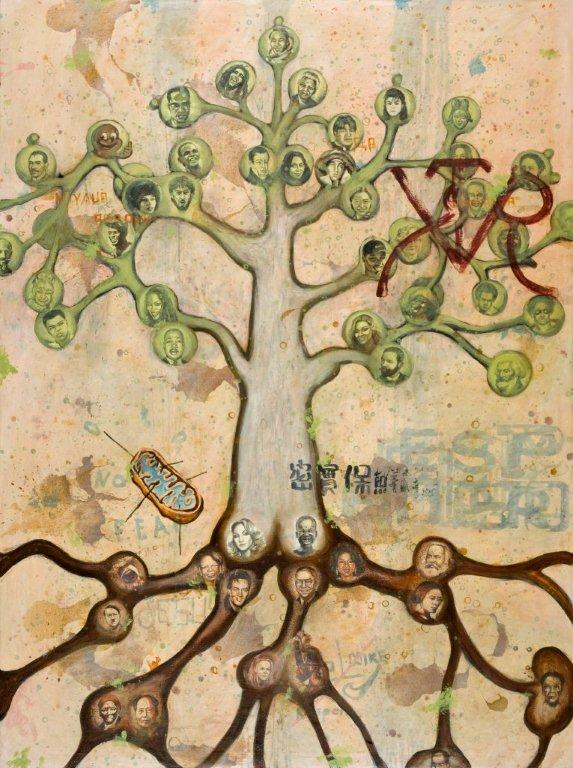 Alexis Esquivel, Árbol Genealógico (Genealogical Tree), 2008, Acrylic on canvas 195 x 145,5 cm Signed on the top edge of canvas 'Alexis Esquivel '08'