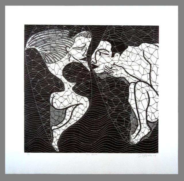 Ibrahim Miranda, Los Novios (The Bridal Couple), 2004, Woodcut on paper 98 x 101 cm